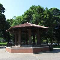 Franklin Town Common's brick bandstand was dedicated in 1917.