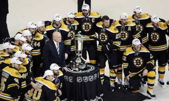 The Boston Bruins pose with the trophy after beating the Pittsburgh Penguins 1-0 in Game 4 of the Eastern Conference finals of the NHL hockey Stanley Cup playoffs in Boston, Friday, June 7, 2013. The Bruins advanced to the Stanley Cup finals.