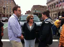Angela Menino, Boston Mayor Tom Menino's wife, arriving to the Boston Pride Parade.