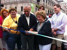 Gov. Deval Patrick and Angela Menino cut the ribbon at the beginning of the Boston Pride parade route at Boylston and Dartmouth streets.