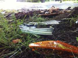 Pieces of the car scattered after the crash
