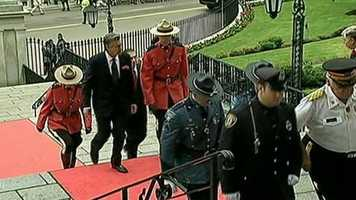 Gary Doer, the Canadian Ambassador to the US, arrives at the Statehouse.