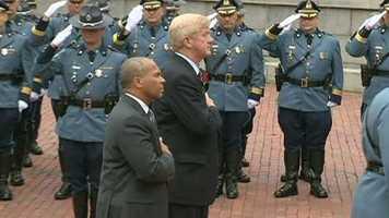 Gov. Deval Patrick and former Gov. Bill Weld outside the Statehouse.