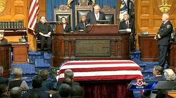 House Speaker Robert Deleo begins the ceremony.