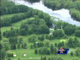 Sky 5 flew over theSandy Burr Country Club in Wayland, where water covered part of the course.