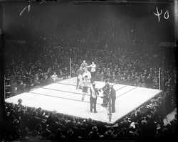 "A boxing card was the first event ever held at the Garden on November 17, 1928.The venue was actually built specifically with boxing in mind, believing that every seat should be close enough to see the ""sweat on the boxers' brows."""