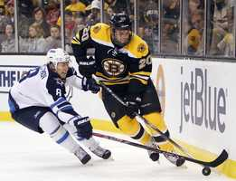 Danielle Paille plays left wing for the Bruins. He was drafted 20th overall by the Buffalo Sabres.