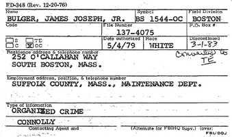 Bulger's FBI informant card