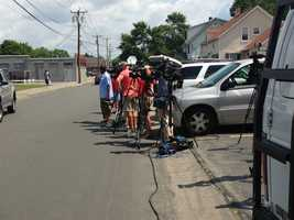 Following the arrest, members of the media gathered outside the Attleboro courthouse where Aaron Hernandez was expected to be arraigned.