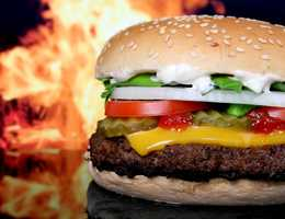 Flip burgers often - once every minute for meat burgers – to help prevent burning or charring.