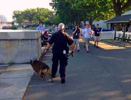 Massachusetts State Police out in full force with K-9 crews.