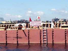 The fireworks barge on the Charles River