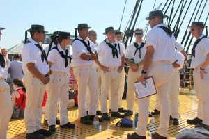 USS Constitution crew members getting ready for the voyage.