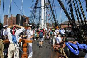 Approximately 500 guests accompanied the 215-year-old Constitution on its tour of Boston Harbor.