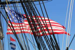 """This massive U.S. flag flown on """"Old Ironsides"""" has 15 stars and stripes."""