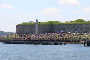 Approaching Castle Island, where a 21-gun salute was held.