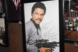 Autographed picture of American actor, artist, singer and writer, Billy Dee Williams, was displayed on the wall in the entrance to Anthony's Pier 4