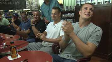 Gronk would not talk about his off-season surgery. A visible mark could be seen on his left arm at the book signing.