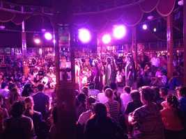 "Performance of ""The Bacchae"" at the century-old Belgian Spiegeltent"