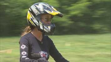 Her riding adventures continued on a dirt bike at Planet Dirt in Plympton, Mass.