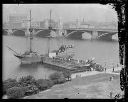 Arbella docked on the Charles River near the Longfellow Bridge in 1930
