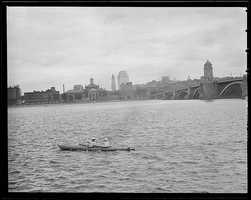The Boston skyline from the Charles River at the Longfellow Bridge taken between 1934-1956