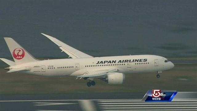 Japan Airlines lands at Logan 787