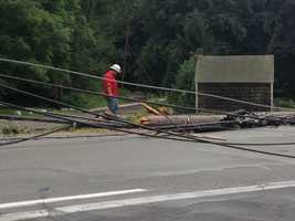 The crash brought down at least 3 other poles and pulled electric services off several area homes.