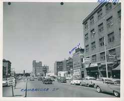 Cambridge Street frontage,looking northwesterly from the center of the street at a point near Blossom Street in 1952