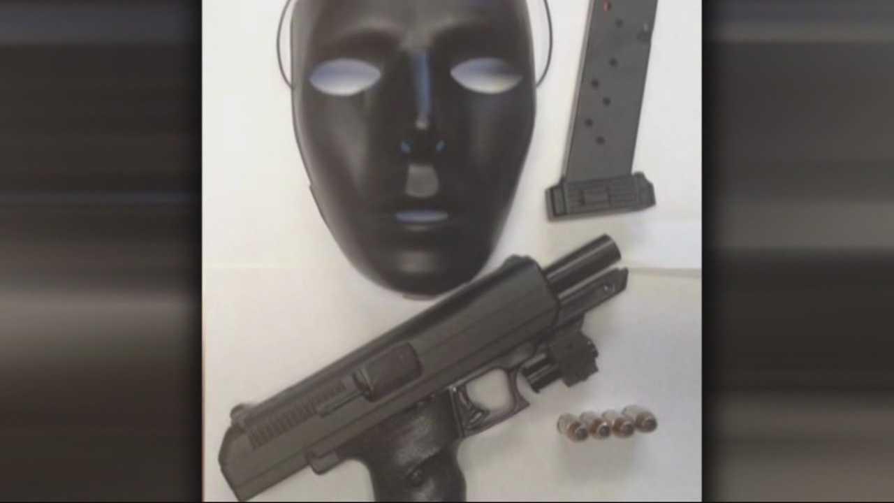 Gun, mask found in car during traffic stop