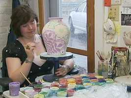 At Damariscotta Pottery, artists create down-home beauty with their colorful glazed earthenware.