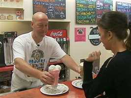 The pharmacy is gone, but Renys re-opened its historic soda fountain.