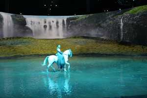 The horses, riders and artists enjoy splashing through the lake