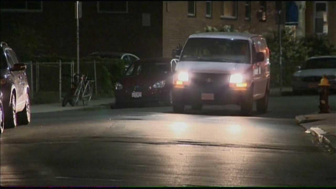 Van heading down street 081913