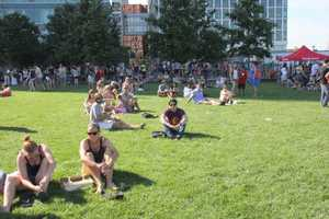Hundreds of people gathered on the lawn near the ICA to watch the divers on the big screen.