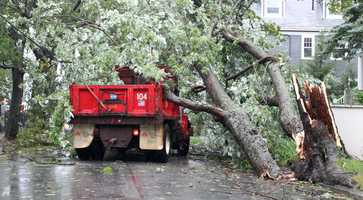 A Providence City truck was struck by a falling tree from the winds of Tropical Storm Irene in Providence, R.I.