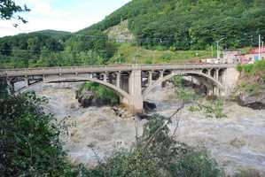 The Vilas Bridge in Bellows Falls, Vt. on the Connecticut River, the Monday after Irene hit.