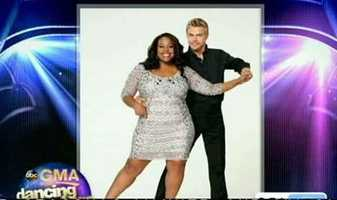 "Amber Riley of ""Glee"" dancing with Derek Hough"