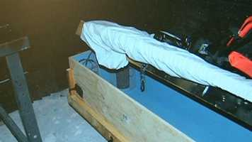 A homemade child-sized coffin.