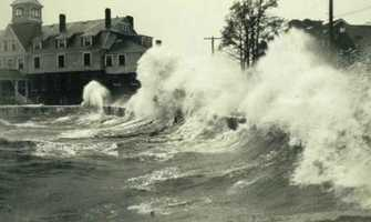 Waves crash at Woods Hole