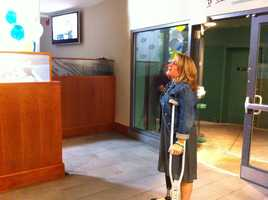 Boston Marathon bombing survivor Roseann Sdoia was honored Friday, Sept. 27, 2013, at Fenway Park.