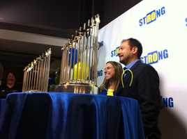 The World Series trophies also made an appearance at the event so Sox fans could take pictures.