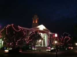 The trees outside Woburn city hall were covered in pink lights for the start of breast cancer awareness month.