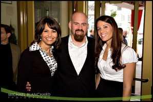 Liz Brunner with Kevin Youkilis and Enza Sambataro at a Youkilis 'Hits for Kids' fundraiser.