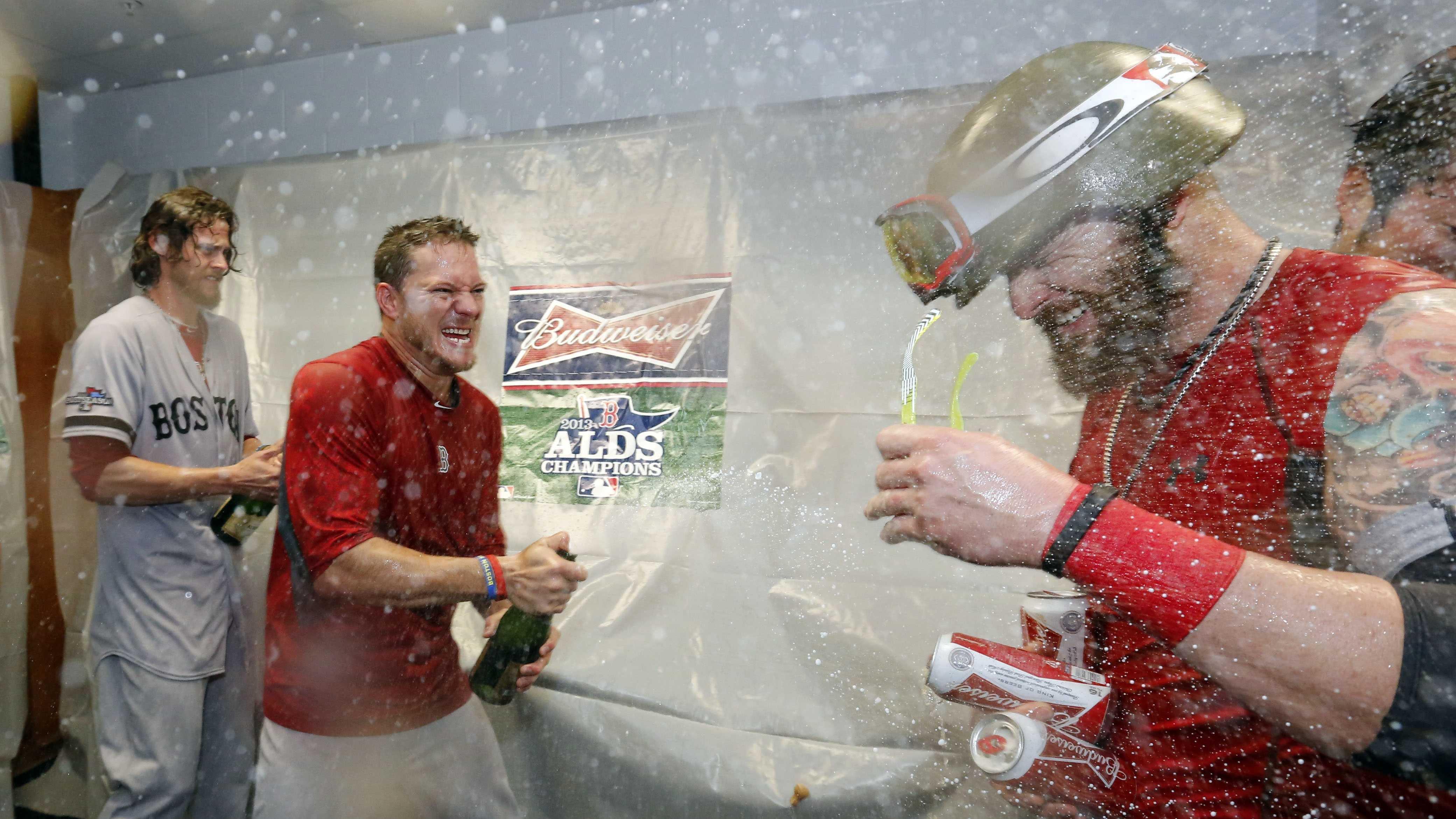 Champagne flows in locker room