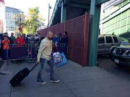 Shane Victorino arrives at Fenway Park.