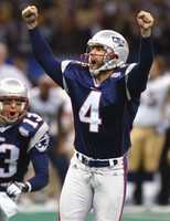 """First Patriots Super Bowl Win""Adam Vinatieri celebrates after kicking the game-winning 48-yard field goal to beat the St. Louis Rams 20-17 in Super Bowl XXXVI at the Louisiana Superdome, Feb. 3, 2002, in New Orleans."