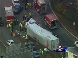 When Sky 5 arrived at the scene, rescue crews were working to get the driver out of the truck.