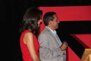 Liz with WCVB-TV News Director Andrew Vrees watch a tribute tape to Liz's years at WCVB-TV