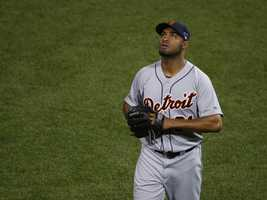 Detroit Tigers relief pitcher Jose Veras looks up after giving up a grand slam to Boston Red Sox right fielder Shane Victorino.